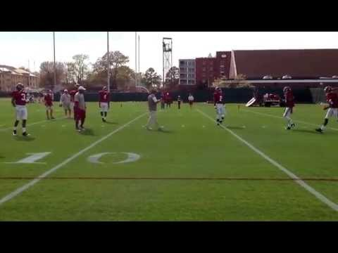Saban works with the defensive backs in spring practice 2014.   (Crimson Confidential)