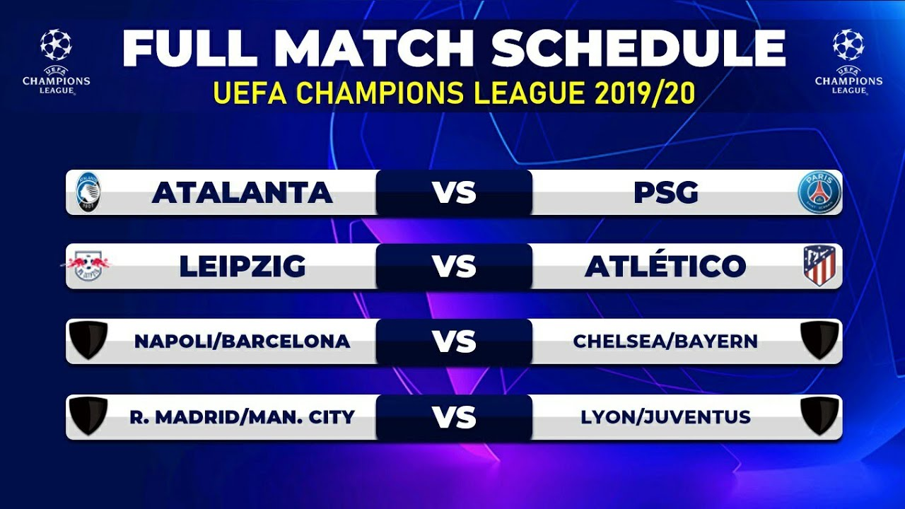 FULL Match Schedule: UEFA Champions League 2019/20 - YouTube