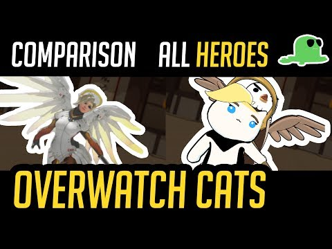 (Comparison) Overwatch but with Cats - ALL HEROES - 'Katsuwatch' (old)