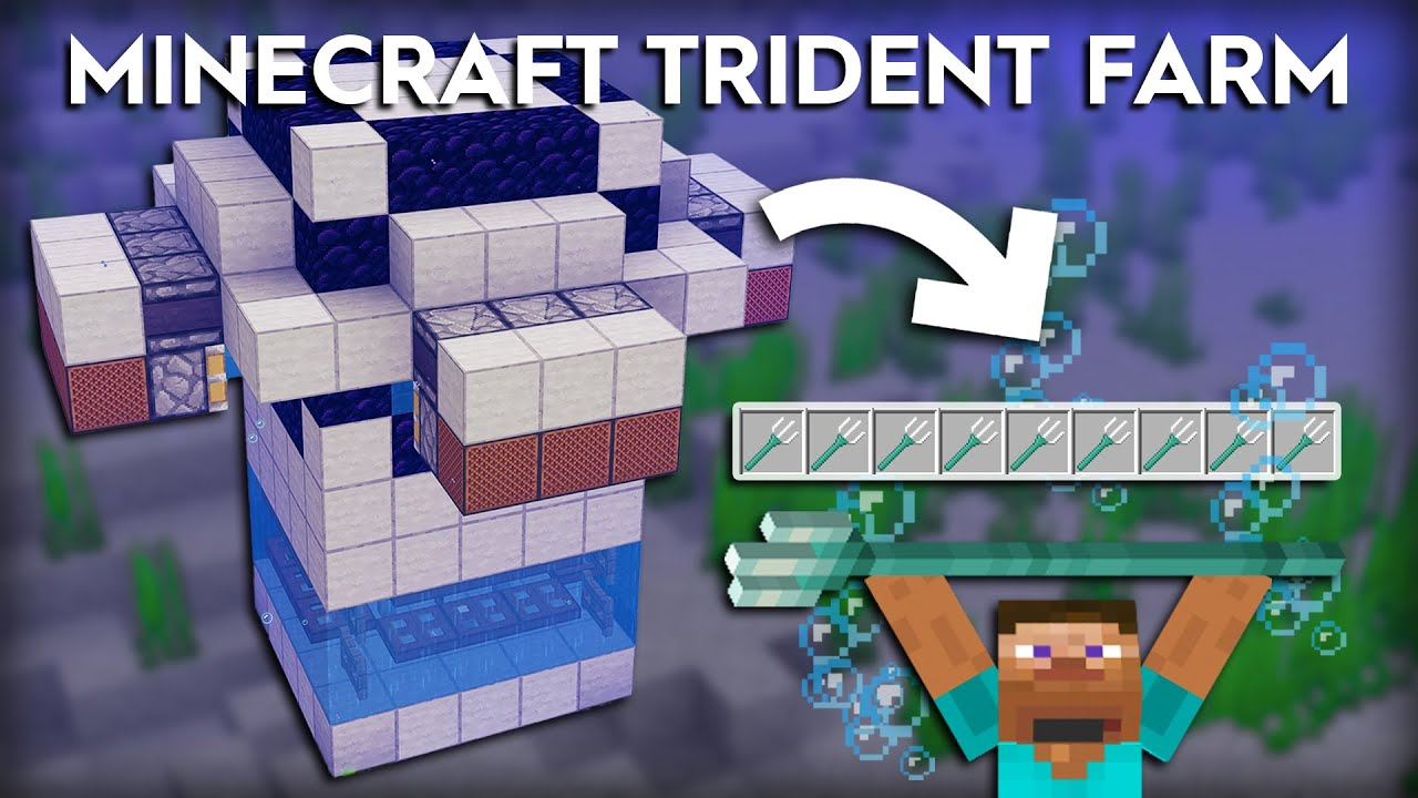 Minecraft Easy Drowned Trident Farm 1 16 1 15 Youtube