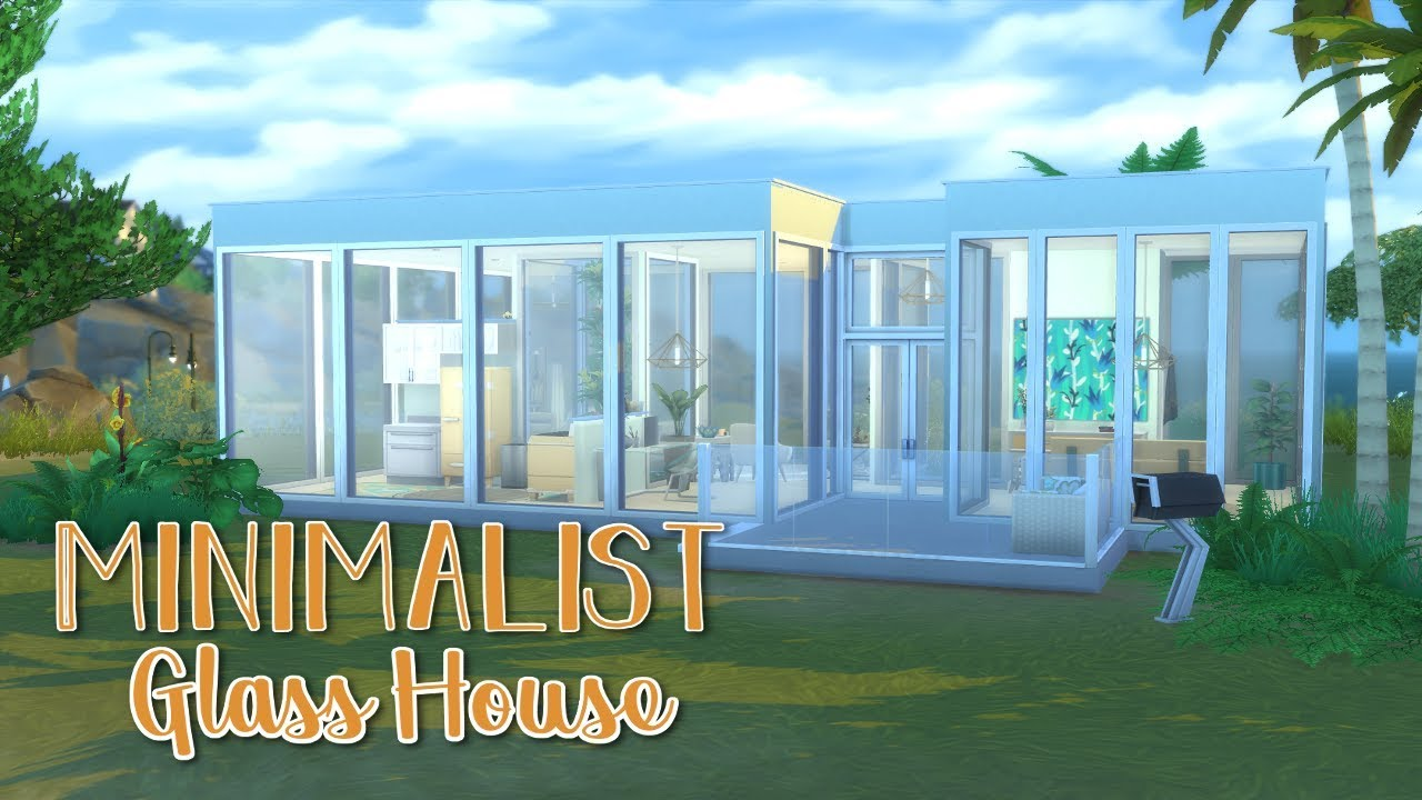 Minimalist Glass House The Sims 4 Speed Build Youtube