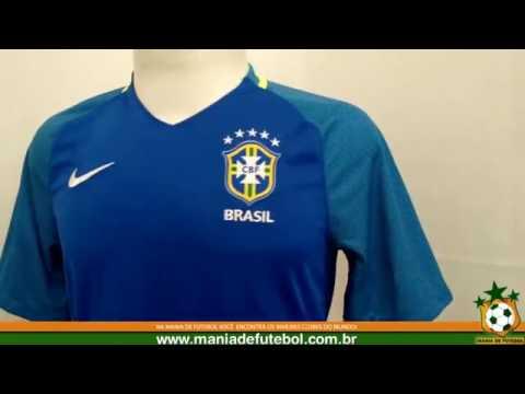 Camisa de Jogo Brasil Nike 2016 Azul S N - YouTube e89938aaac7a9