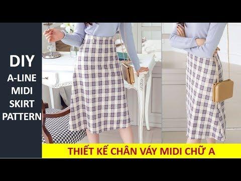 DIY A-line Midi Skirt Pattern | Cách Thiết Kế Cắt May Chân Váy Midi Chữ A