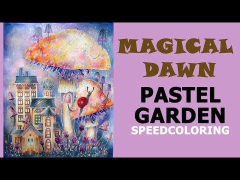 Speedcoloring in 'Magical Dawn' coloring book.  Pastel Garden  / Раскраска-антистресс