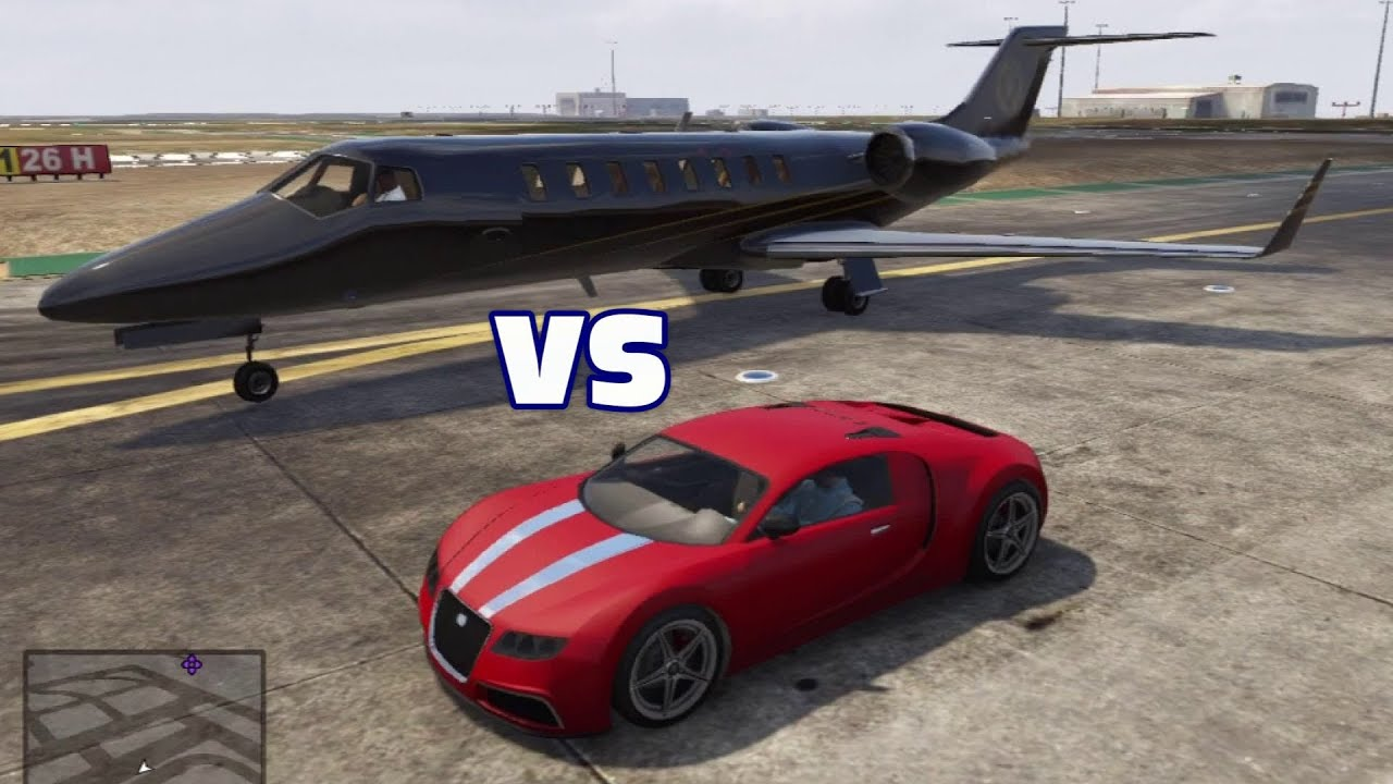 Adder (Bugatti Veyron) Vs. Jet Which Is Faster? GTA V 5 Video Game Genius    YouTube