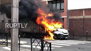 France: Flipped cars and fires as anti-govt students join the fray