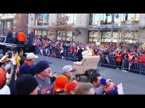 Denver Broncos Super Bowl Parade Part 6 Miles the Mascot pulled in a recliner!