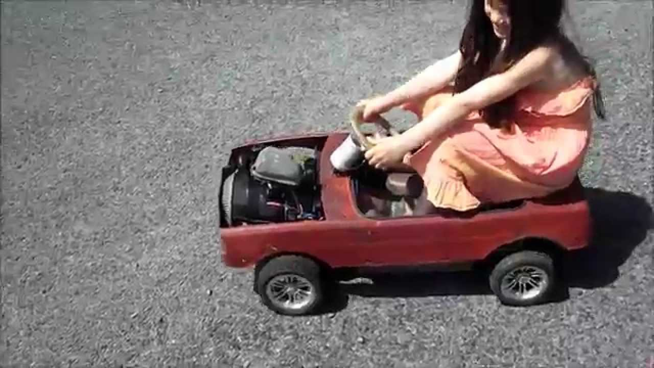 the kids rotary pedal car first outing