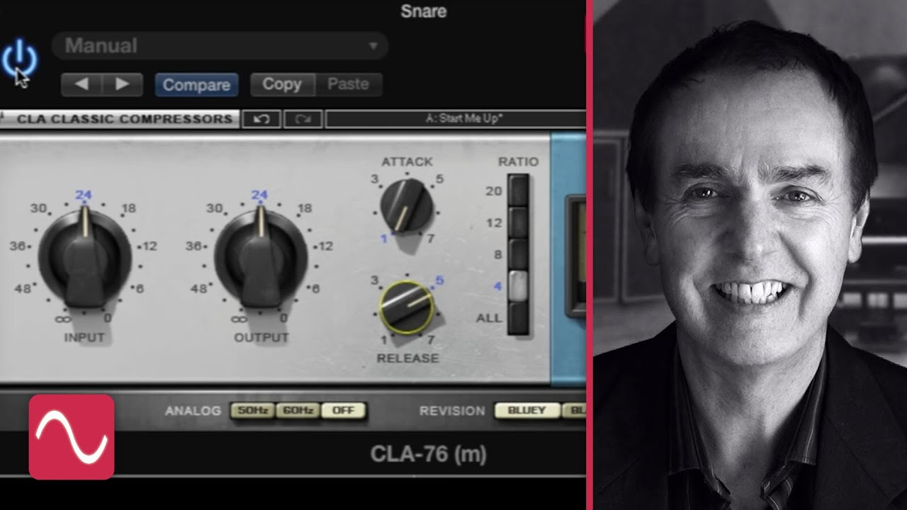 The Waves CLA-76 compressor plug-in on snare drum, with video