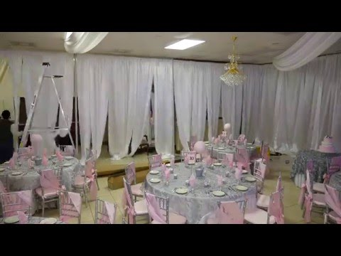 Uplights and Drapes Setup at marvel banquet hall