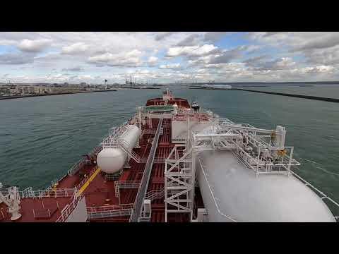 Shuttle Tanker Tide Spirit Entering Narrow Port