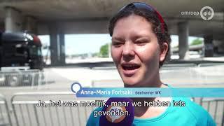 Passen en meten in Arnhem met inline-skaters en automobilisten, er is een WK aan de gang