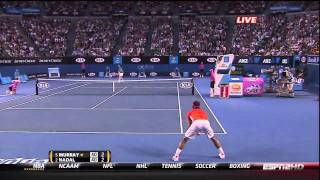 Andy Murray reacts to Nadal taking his time to challenge - Australian Open 2010