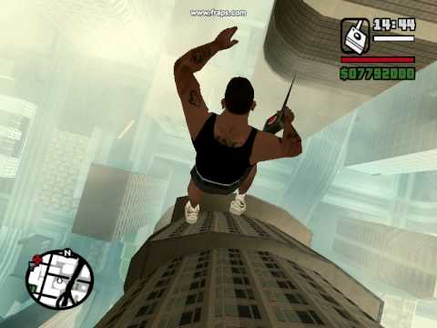 Gta San Andreas Cj Jumps Off The Tallest Skysc R Without Dying Youtube