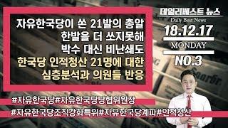 자유한국당이 쏜 21발의 총알 한발을 더 쏘지못해 박수 대신 비난쇄도 / 한국당 인적청산 21명에 대한 심층분석과 의원들 반응