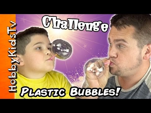 Plastic BUBBLE BALLOON Challenge! Surprise Toys Review + Family Fun by HobbyKidsTV