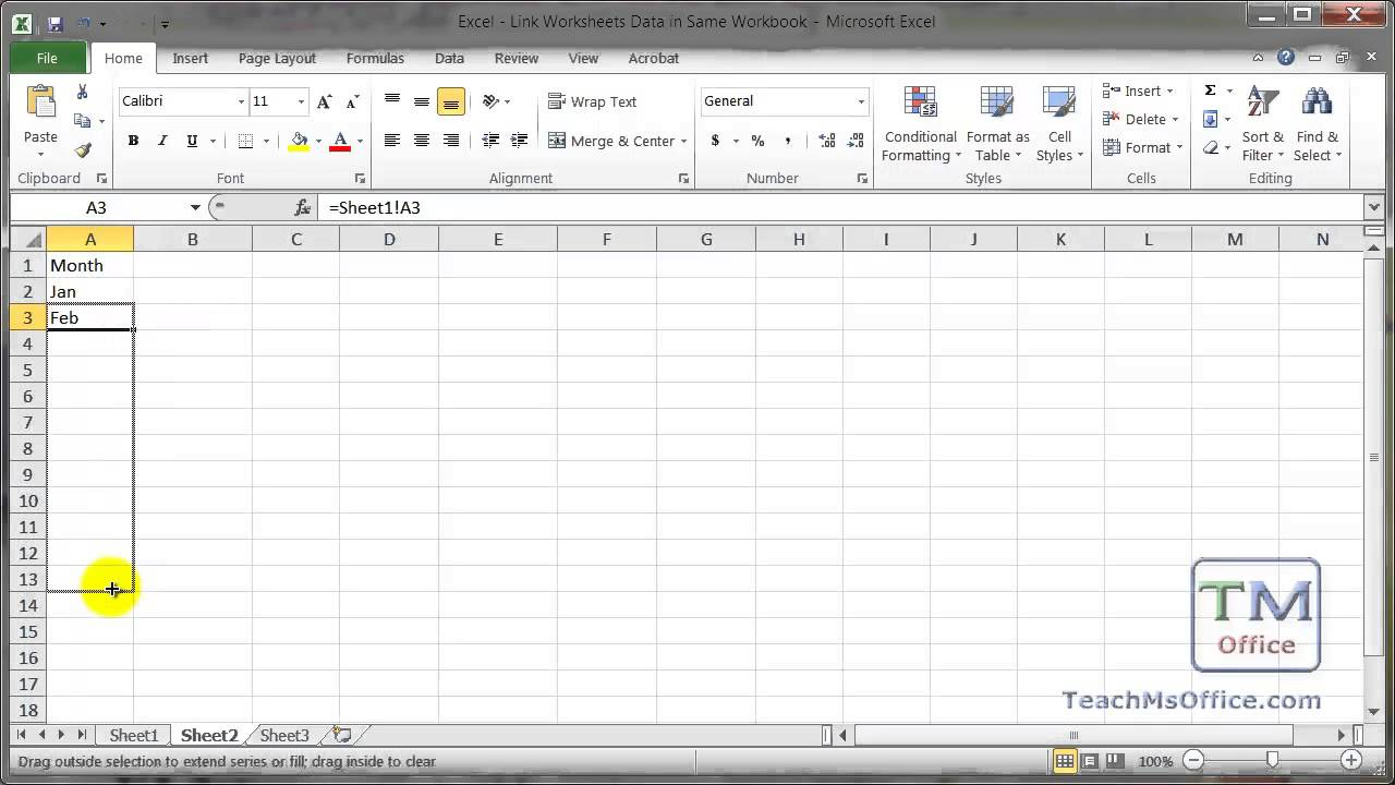 Excel - Link Data Between Worksheets in a Workbook in Excel - YouTube