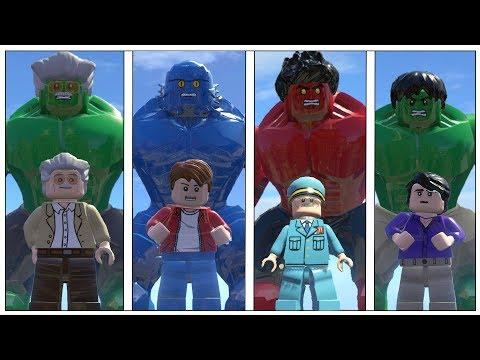 Hulk,Red Hulk(Transformation),Stenlee,A-Bomb(Transformation)- Lego Marvel Super Heroes Game
