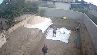 Construction of polystyrene block pool IrriBloc from IrriJardin 7x4meters