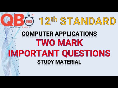 TN   12th Standard Computer Application Two Mark Important Questions With Answer Key - Full Portion
