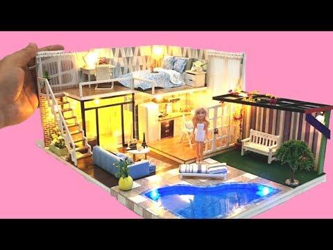 5 DIY DOLLHOUSE BARBIE two-storey Dollhouse Decor Bedroom, kitchen, toilet etc