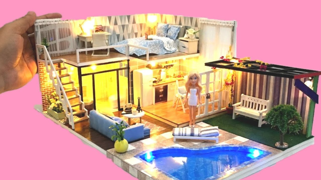 5 DIY DOLLHOUSE ROOMS ~ BARBIE two-storey Dollhouse Decor ...