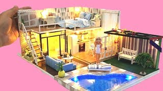 5 DIY DOLLHOUSE ROOMS ~ BARBIE two-storey Dollhouse Decor Bedroom, kitchen, toilet etc