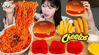 ASMR MUKBANG| Cheetos hamburgers, chicken nuggets, fried chicken noodles, cheese sticks