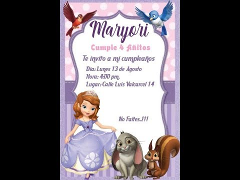 Como Crear Una Invitacion De La Princesa Sofia Mega Idea