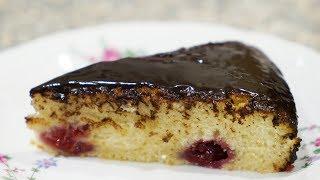 Постный пирог с малиной и шоколадной глазурью. Видео рецепт от Надежды