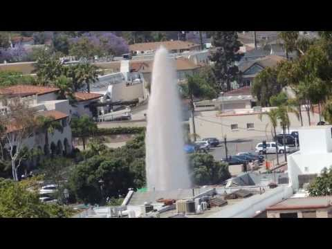 Santa Barbara Fire Hydrant Geyser (1) - video taken from court house bell tower, 5/25/2013