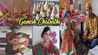 Grand Welcome of Bappa~Ganesh Chaturthi celebration 2019~Easy Homemade Modak~Quick Decoration