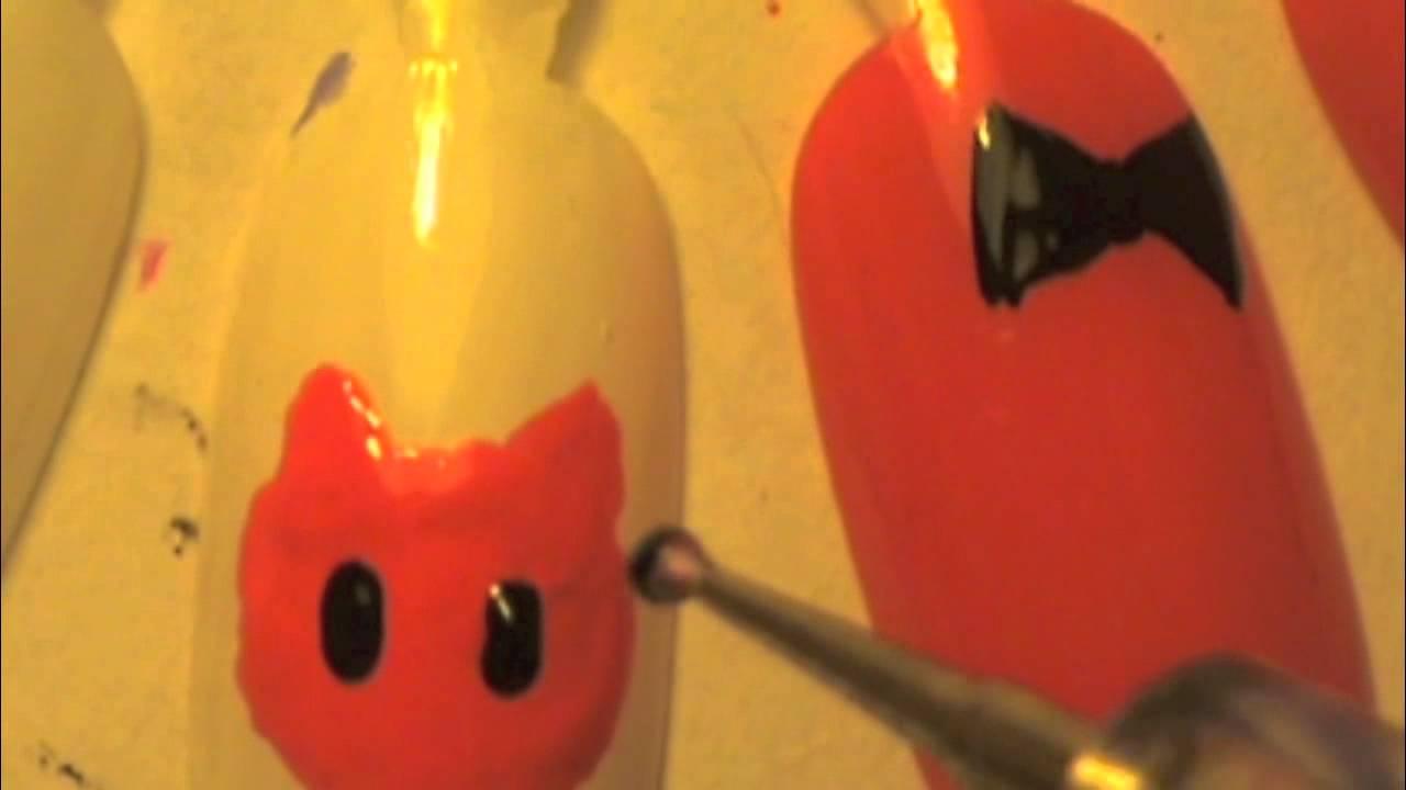 Halloween Hello Kitty nails (2 in 1) - YouTube