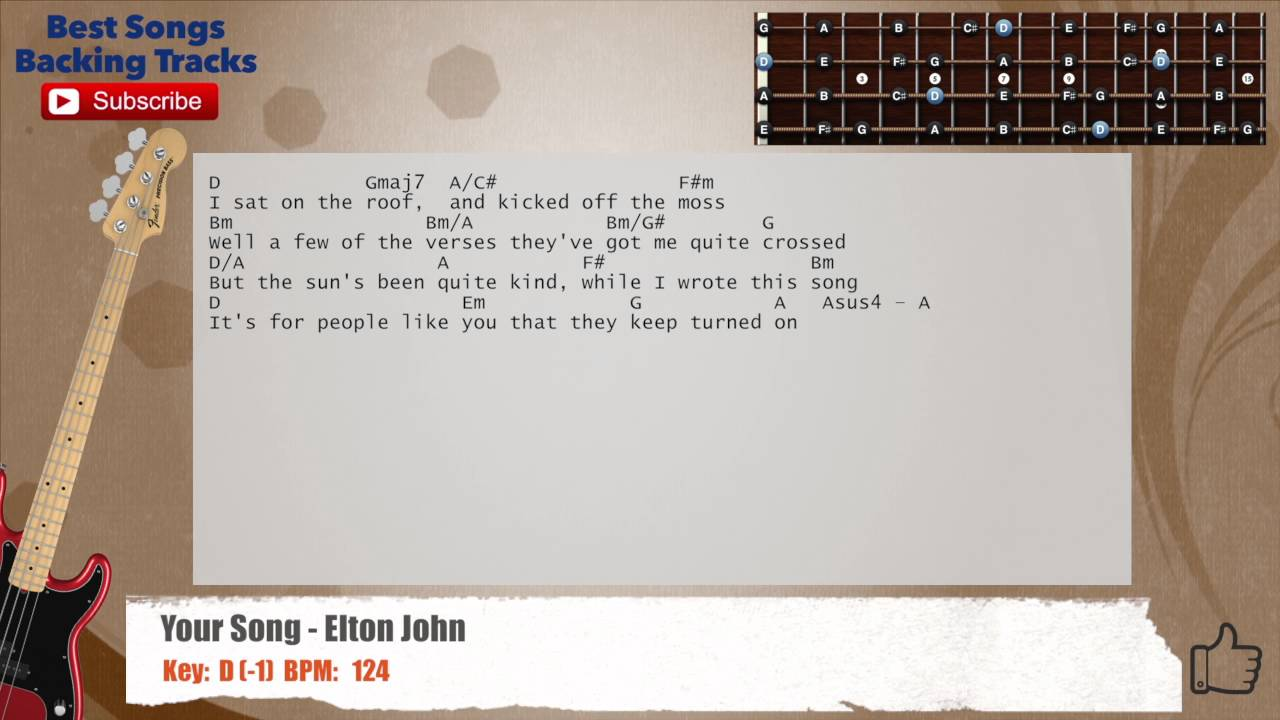 Your Song Elton John Bass Backing Track With Chords And Lyrics