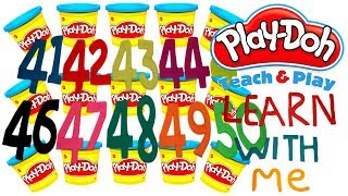 LEARN TO COUNT NUMBERS 41-50 WITH PLAY-DOH In ENGLISH l Squishy Fun