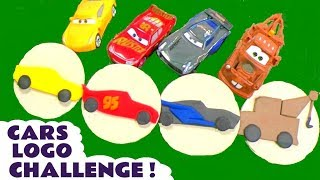 Disney Cars Toys Lightning McQueen Cars 3 Play Doh logo challenge race with the funny Funlings TT4U