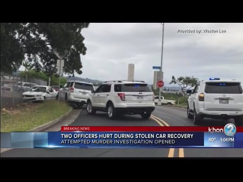 Two Honolulu police officers injured while recovering stolen car