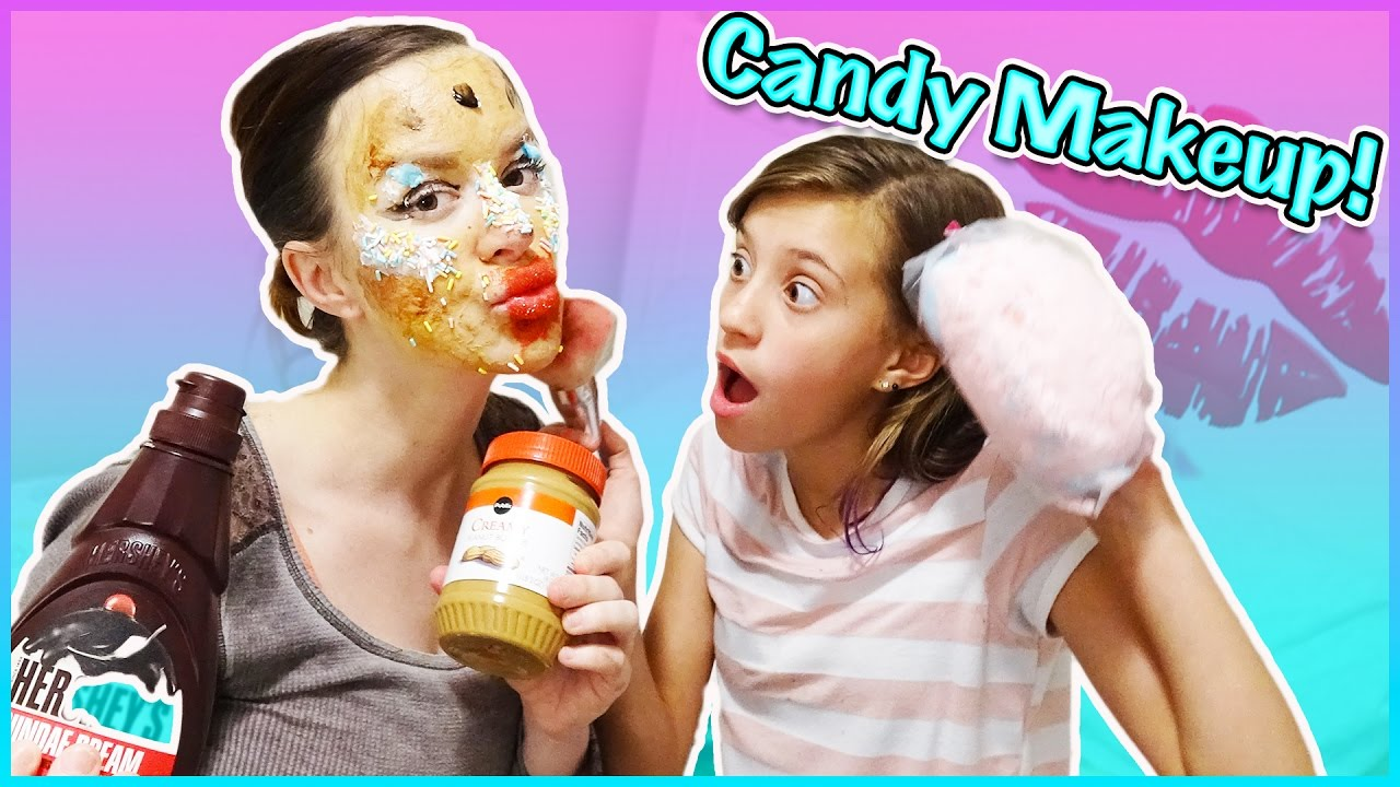 DOING MY MOM'S MAKEUP WITH CANDY!!! 🍭 EDIBLE MAKEOVER ...