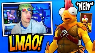 "NINJA REACTS TO *NEW* ""CHICKEN"" SKIN! *LEGENDARY* Fortnite FUNNY & SAVAGE Moments"