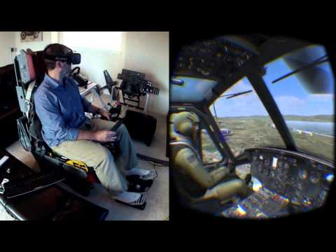 DCS Huey on the Oculus Rift DK2 / Max Flight Stick - Collective