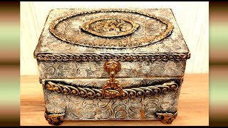How to make a Vintage jewelry Box from Cardboard /DIY Jewelry Box Design Craft Idea