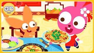 Китайский ресторан Пурпурно Розового Кролика. Готовим блюда восточной кухни для зверят. Мульт игра
