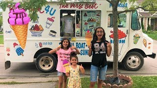 Kids buy ice Cream from a real ice Cream truck!! family fun vlog