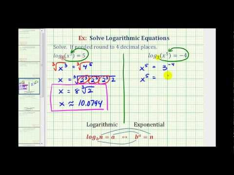 Ex:  Solve Basic Logarithmic Equation - Radicals