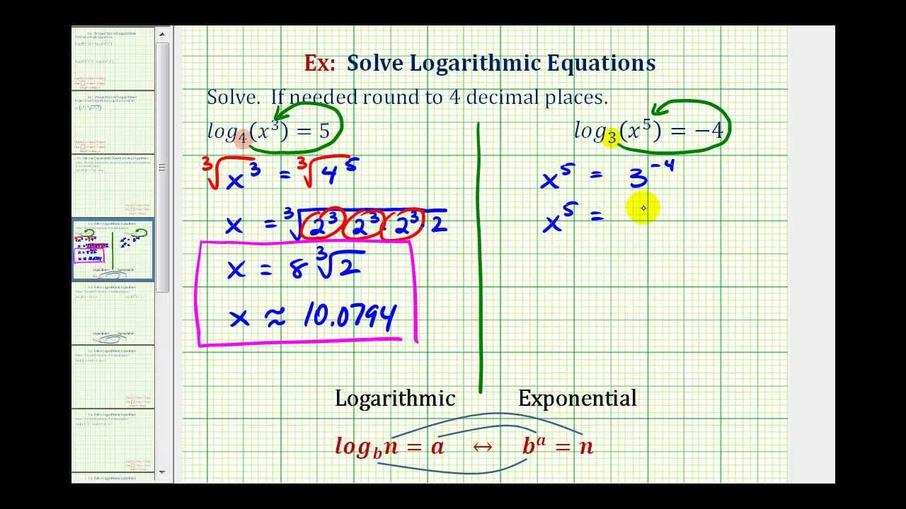 Worksheets Solving Logarithmic Equations Worksheet Pdf ex solve basic logarithmic equation radicals youtube radicals