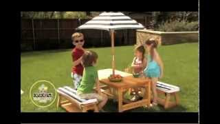 Outdoor Table & Chair Set With Cushions & Navy Stripes
