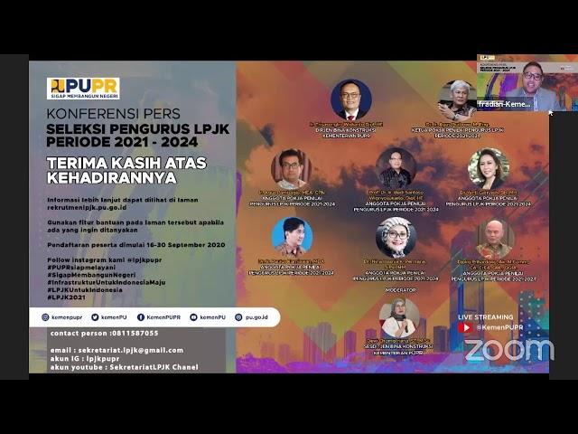 Konferensi Pers Pembukaan Seleksi Calon Pengurus LPJK Periode 2021 - 2024