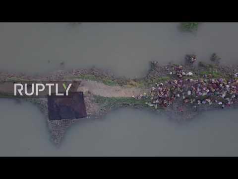 Bangladesh: Drone captures thousands of new refugees fleeing Myanmar
