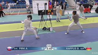 2018 1234 T64 09 M F Individual Halle GER European Cadet Circuit BLUE KAPPUS GER vs PIRK SVK