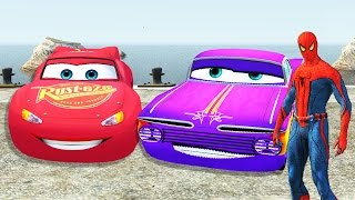 disney lightning mcqueen cars race and spiderman having fun and dance